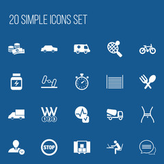 Set Of 20 Editable Mixed Icons. Includes Symbols Such As Car, Messaging, Blank And More. Can Be Used For Web, Mobile, UI And Infographic Design.