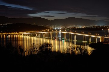 Tasman Bridge at night