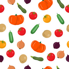 Vector seamless pattern illustration of vegetables. Potato. cucumber, tomato, onion, zucchini and pumpkin