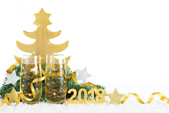 New Year Celebration with Champagne Glasses 2018. New Year champagne flutes saying pop, fizz, clink.