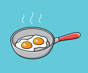 Fried eggs in a frying pan isolated.