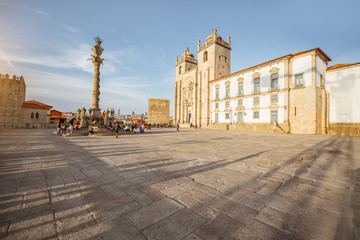 View on the central square with Se cathedral and Manueline column in Porto city, Portugal
