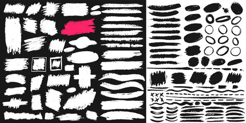 Big set of black paint, ink brush, brush. Dirty element design, box, frame or background for text. Line or texture. Vector illustration. Isolated on black and white background