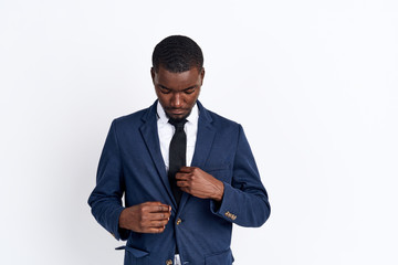 black man in suit on white background