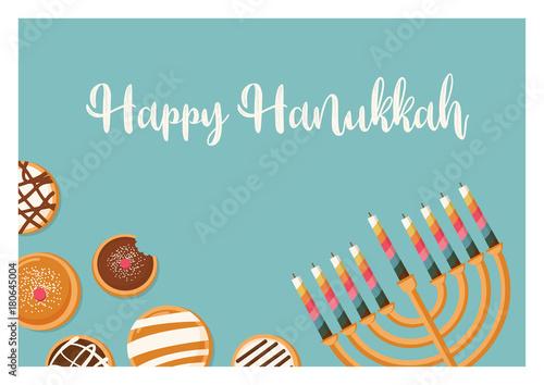Hanukkah doughnut and menora jewish holiday symbols sweet hanukkah doughnut and menora jewish holiday symbols sweet traditional bake greeting card m4hsunfo