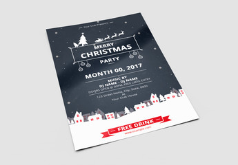 Christmas Party Flyer with Neighborhood in Snow Illustrations