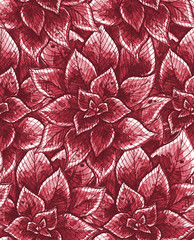 Nice seamless texture with watercolor leaves. Repeating background. Tiled pattern. Red theme.