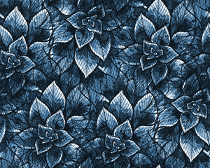 Nice seamless texture with watercolor leaves. Repeating background. Tiled pattern. Blue theme.