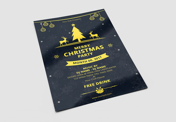 Christmas Party Flyer with Mustard Accents on a Dark Snowflake Background
