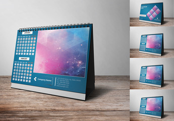 2018 Desk Calendar with Dark Teal Accents