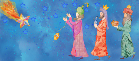 Christmas nativity scene. Bacground with three wise men  and star of Bethlehem. Watercolor