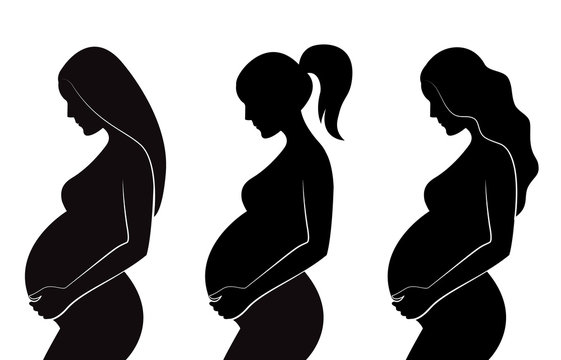 Black silhouette of pregnant women with different hairstyles: straight hair, curly hair, ponytail. Vector illustration