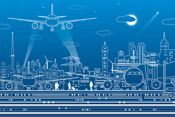 Wall Mural - Airport illustration. Aviation transportation infrastructure. The plane is on the runway. Airplane fly, people get on the aircraft. Night city on background, vector design art