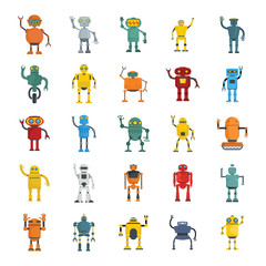 Cute cartoon robots and spaceman cyborg vector set isolated on white background. Robot characters illustration