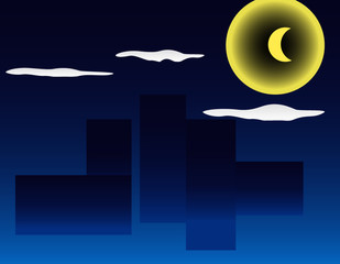 Municipal landscape background night of cloud picture background moon of house