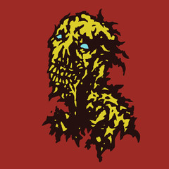 Raw zombie with saliva flowing from his mouth. Vector illustration.