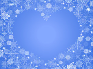 christmas background with empty heart in center transparent blue