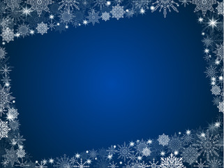 New Year background snowflakes with photo frame blue gradient of christmas