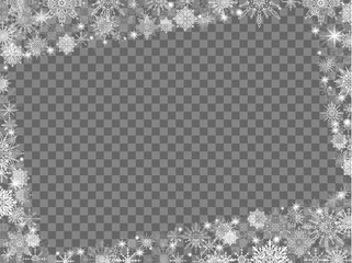 New Year background snowflakes with photo frame transparent