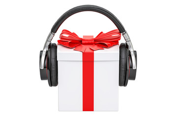 Headphones with gift box. 3D rendering