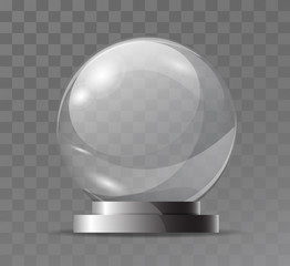 Glass transparent crystal globe. Magic attribute. Empty glass sphere. Stand for a souvenir, trophy. Realistic vector object isolated on plaid background