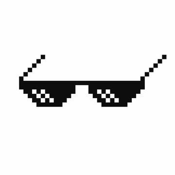 Pixel art glasses. Thug life meme glasses isolated on white background