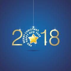 Happy New Year 2018 Christmas ball yellow star blue vector