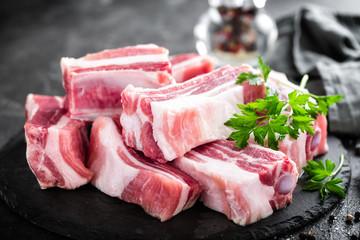 Pork ribs, raw meat