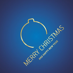 Merry Christmas New Year gold ball line logo icon blue greeting card