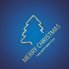 Merry Christmas New Year gold tree line logo icon blue greeting card
