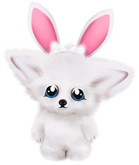 Cute white fox with bunny ears