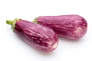Fresh eggplants, aubergine on a white background.