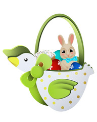 Duck- spring easter kids basket with eggs and bunny