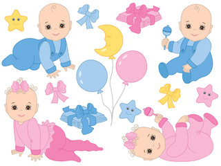 Vector Set of Cute Baby Boy and Baby Girl. Vector Baby Shower