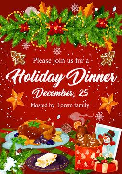 Christmas dinner invitation for Xmas party design