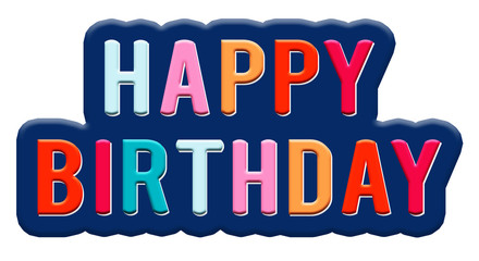 Happy Birthday typography clip art design for greeting cards and posters