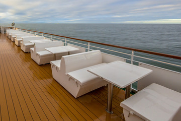 Outdoor Seats on deck of passenger ship