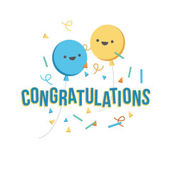 Congratulations banner with balloons and confetti. Vector illustration flat design