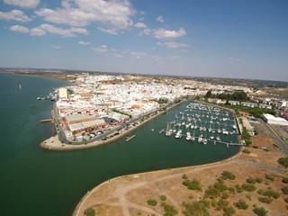 Puerto deportivo de Ayamonte ( Huelva) desde el aire