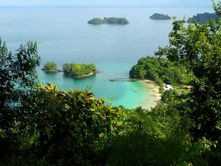 A view from elevatep point over beach in Parque Nacional de Isla Coiba, Panama
