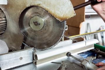 PVC cutting machine close up