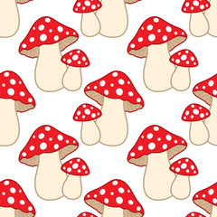 Vector Seamless Pattern with Amanita.  Amanita Seamless Pattern
