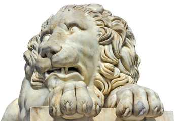 sculpture marble head lion Isolated on a white