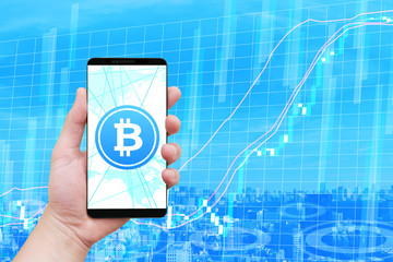 ビットコイン仮想通貨とスマートフォンとチャート