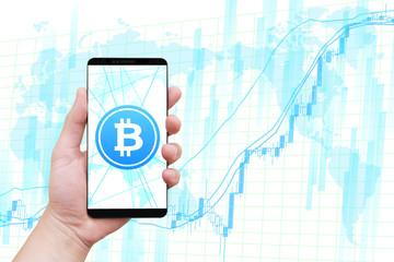ビットコイン仮想通貨とスマートフォンとチャート-白背景