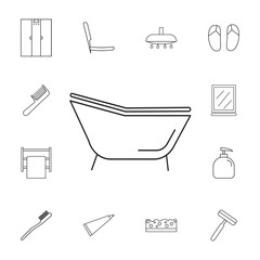 Single bathtub icon. Set of bathroom icons. Signs, outline symbols collection, simple thin line icons for websites, web design, mobile app, info graphics