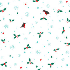 Seamless christmas pattern with snowflakes, stars, holly and birds