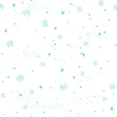 Christmas seamless pattern with stars and snowflakes