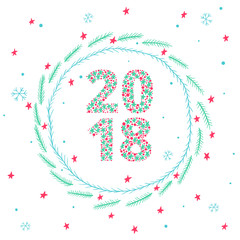 Cute New Year 2018 card with round frame of decorated spruce branches, stars and snowflakes