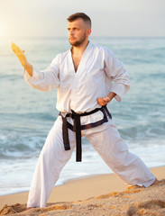 Guy doing karate poses at  sunset sea shore